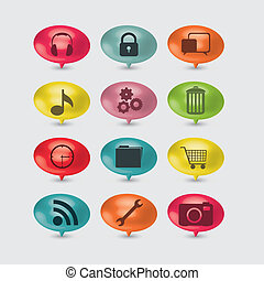 social networks - illustration of colored buttons with icons...