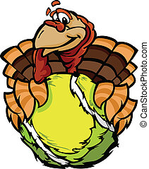 Cartoon Vector Image of a Thanksgiving Holiday Tennis Turkey Holding a Tennis Ball