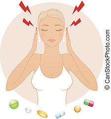 Woman with headache - Vector illustration of Woman with...