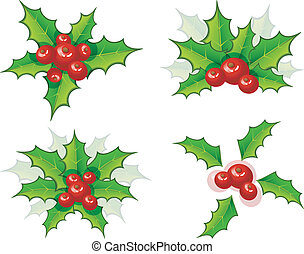 Holly christmas branch set - Vector illustration of Holly...