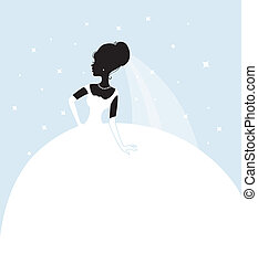 Beautiful bride in white dress - Vector illustration of...