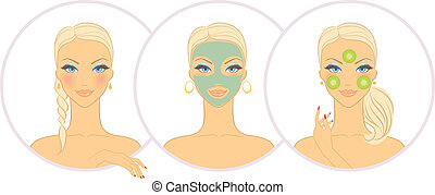 Woman with cosmetic mask - Vector illustration of Woman with...