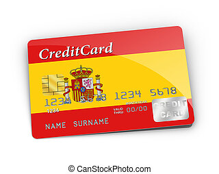 Credit Card covered with Spain flag