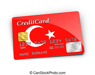 Credit Card covered with Turkish flag.