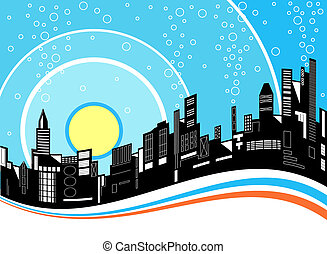 City ripple - Illustration of a city skyline