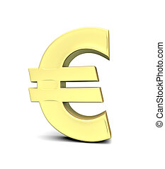Euro currency symbol - Golden Euro currency symbol on white...