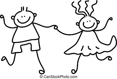 kid couple - a little boy and girl holding hands - black and...