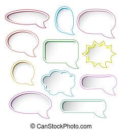 Colorful speech bubble frames.