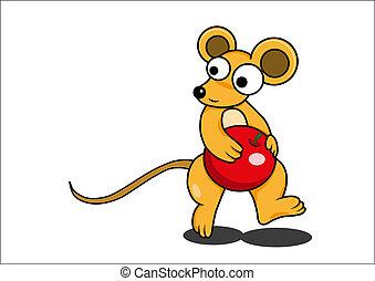 vector, ratón, caricatura