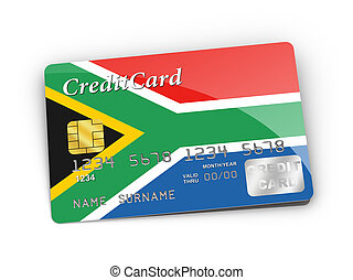 Credit Card covered with South African flag.