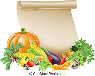 Thanksgiving or fresh produce scrol - Illustration of...