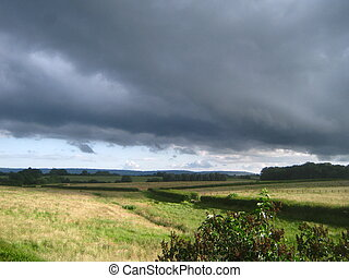 Soon raining - Rainy clouds over the Blackdown Hills,...