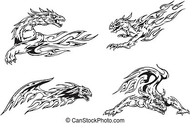 Dragon flame tattoos - Dragon tattoos with flames. Set of...