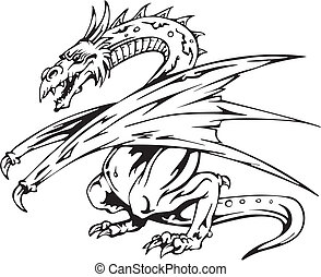 Dragon tattoo Back and white vector illustrations