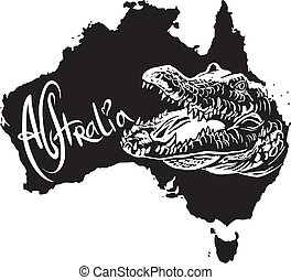 Crocodile as Australian symbol - Crocodile on map of...