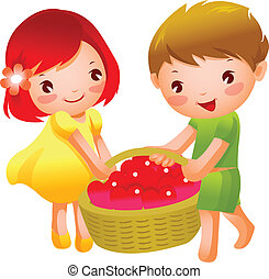 Girl and Boy carrying heart shape fruits in a basket