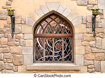 Arched window in stone wall - Arched window in a stone wall