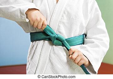 judo - young boy preparing to perform judo