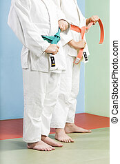 judo - two young boys preparing to perform judo