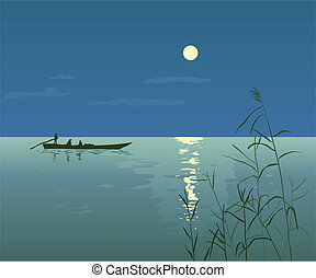 Night Seascape with Boat