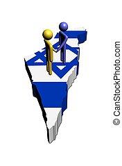 Meeting on Israel map flag illustration