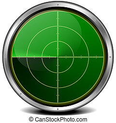blank radar screen - illustration of a metal framed blank...
