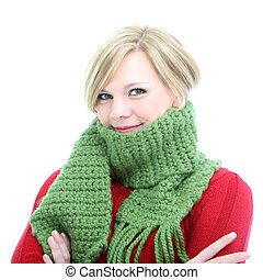 Woman wrapped in a winter scarf - Smiling blonde woman...