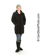 Smiling woman in warm winter outfit - Full length studio...