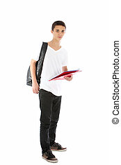 Teenage boy student with file