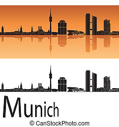 Munich skyline in orange background in editable vector file