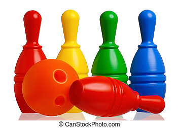Toy bowling - Colorful plastic skittles of toy bowling with...