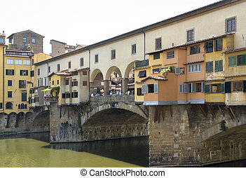 Ponte Vecchio - scenery around Ponte Vecchio in Florence,...