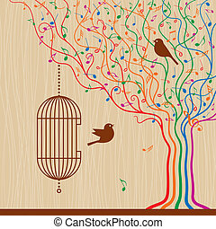 Birdcage On The Musical Tree - Birdcage on abstract musical...