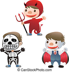 cute boy dress up with halloween - cute boy dress up to...