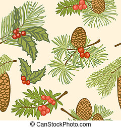 Christmas seamless background - Illustration of evergreen...