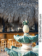 Tiki Bar with Pineapple Fountain
