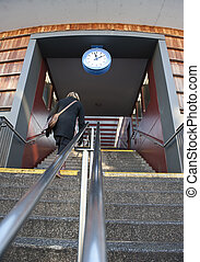 Just in time - Woman in a hurry to catch a train departure