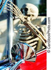 Skeleton in Classic Car