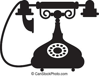 antique telephone - Silhouette of antique telephone
