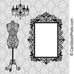 frame, mannequin and chandelier - Antique frame, mannequin...