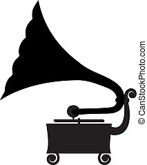gramophone - Silhouette of antique gramophone