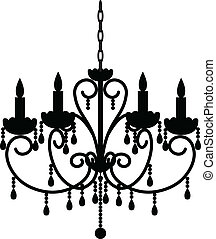 antique chandelier - Silhouette of antique chandelier