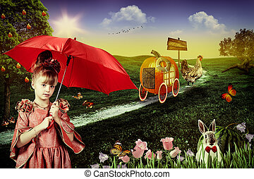 Wonderland. Abstract fairy tale backgrounds with young...