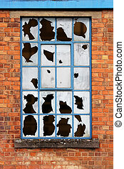 Window with Broken Glass - Old Factory Window with Broken...
