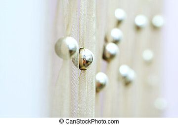 Curtain  - Modern yellow curtain with gold balls.