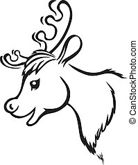 Muzzle reindeer - Contour image of cartoon muzzle reindeer