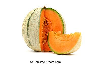 cantaloupe melone isolated on white