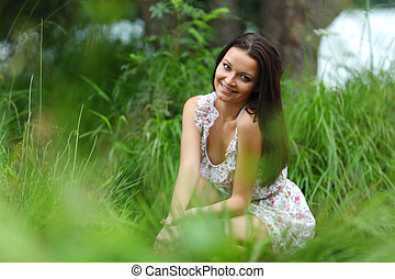 woman on green grass field