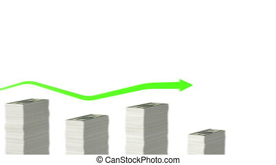 Graph with paper money bars Looped animation Alpha mask HD...