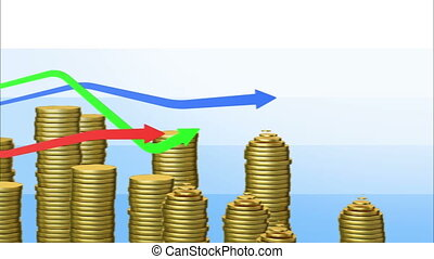 Graphs with coins bars Looped animation Alpha mask HD 1080...